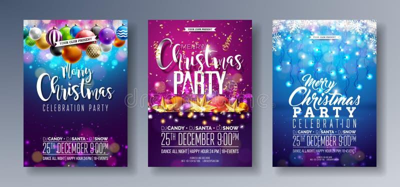 Illustration för reklamblad för parti för glad jul för vektor med ferietypografibeståndsdelar och flerfärgade dekorativa bollar,  vektor illustrationer