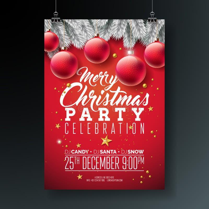 Illustration för reklamblad för parti för glad jul för vektor med typografi- och feriebeståndsdelar på blå bakgrund inbjudan royaltyfri illustrationer