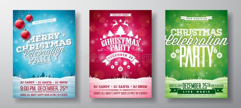 Illustration för reklamblad för parti för glad jul för vektor med typografi- och feriebeståndsdelar på tappningbakgrund Vinter stock illustrationer