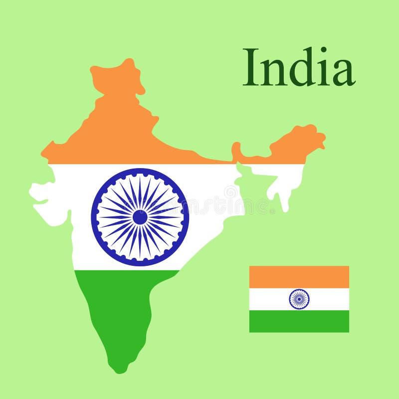 Illustration för Republiken Indien översiktsflagga på en grön bakgrund ve royaltyfri illustrationer