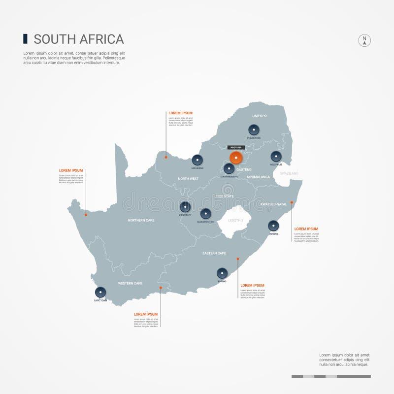Illustration för Republiken Sydafrika infographic översiktsvektor royaltyfri illustrationer