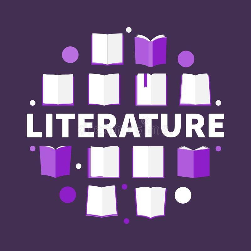 Illustration för rund vektor för litteratur idérik i plan stil stock illustrationer