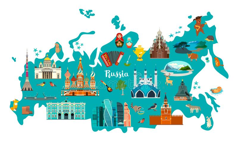 Illustration för Ryssland vektoröversikt Handattraktionkartbok vektor illustrationer