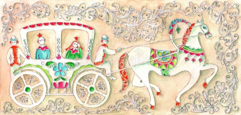 Illustration för sagan, vattenfärg Utfört i rysk stil stock illustrationer