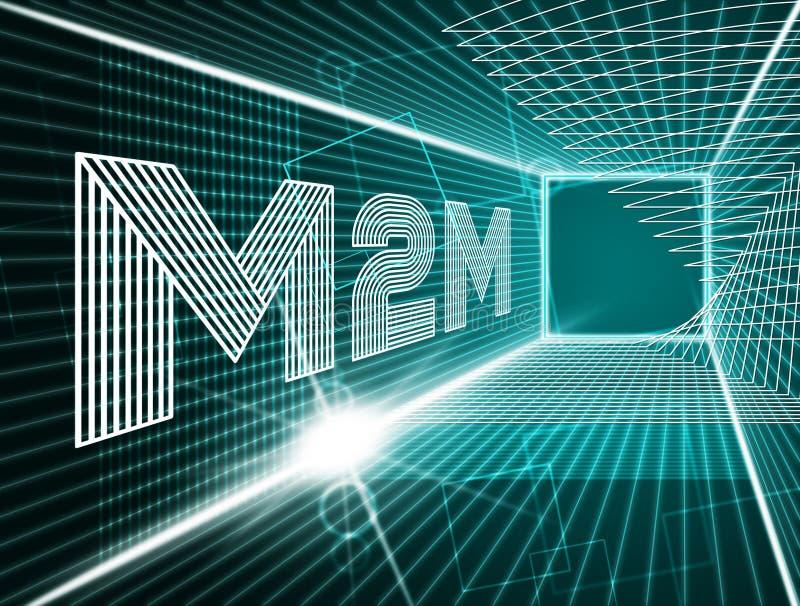 Illustration för samarbete 3d för M2M Machine Connectivity And vektor illustrationer