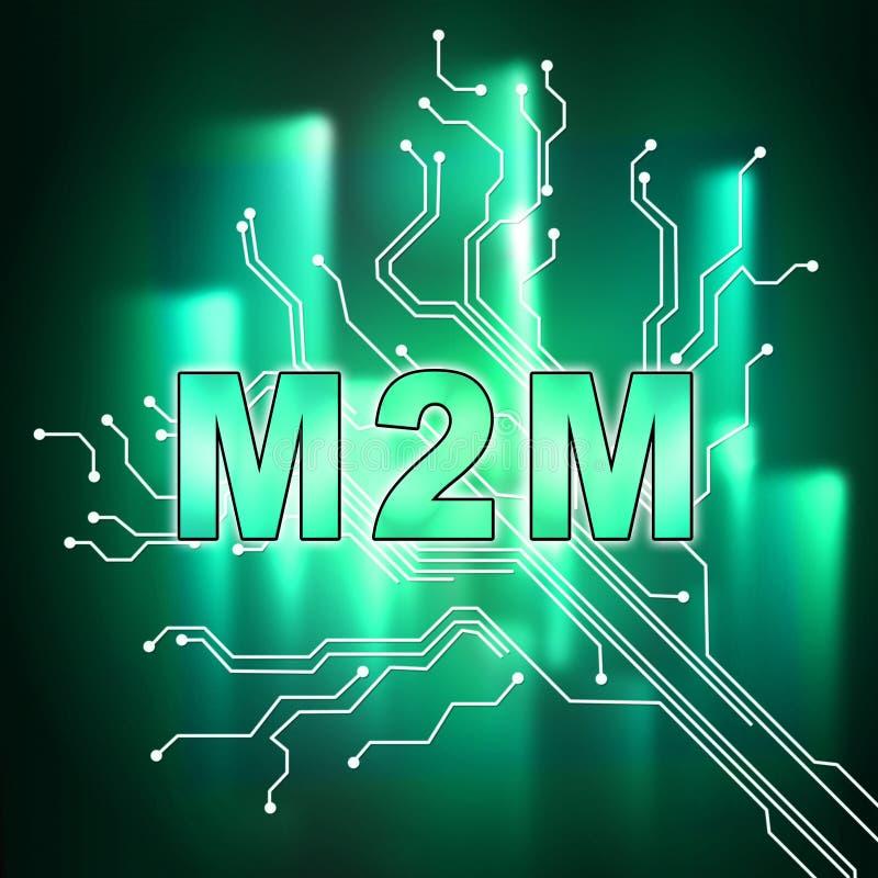 Illustration för samarbete för M2M Machine Connectivity And 2d royaltyfri illustrationer
