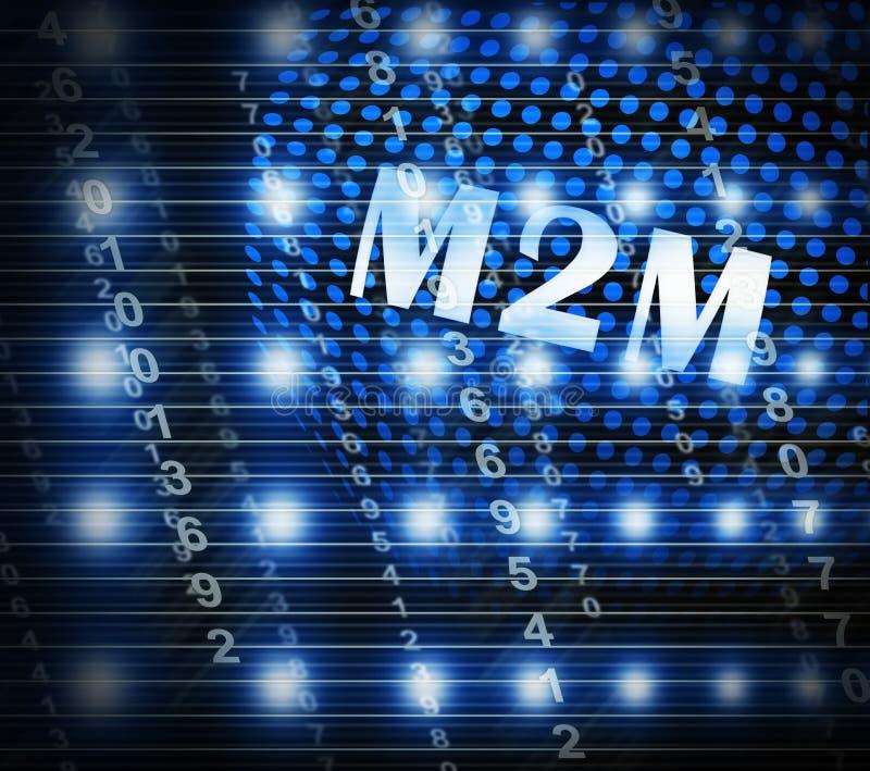 Illustration för samarbete för M2M Machine Connectivity And 2d stock illustrationer
