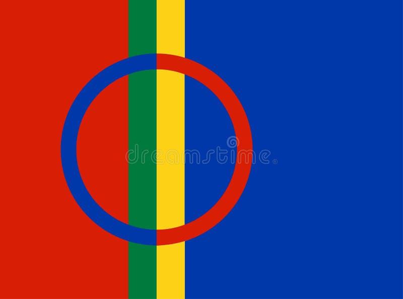 Illustration för Sami folkflagga stock illustrationer
