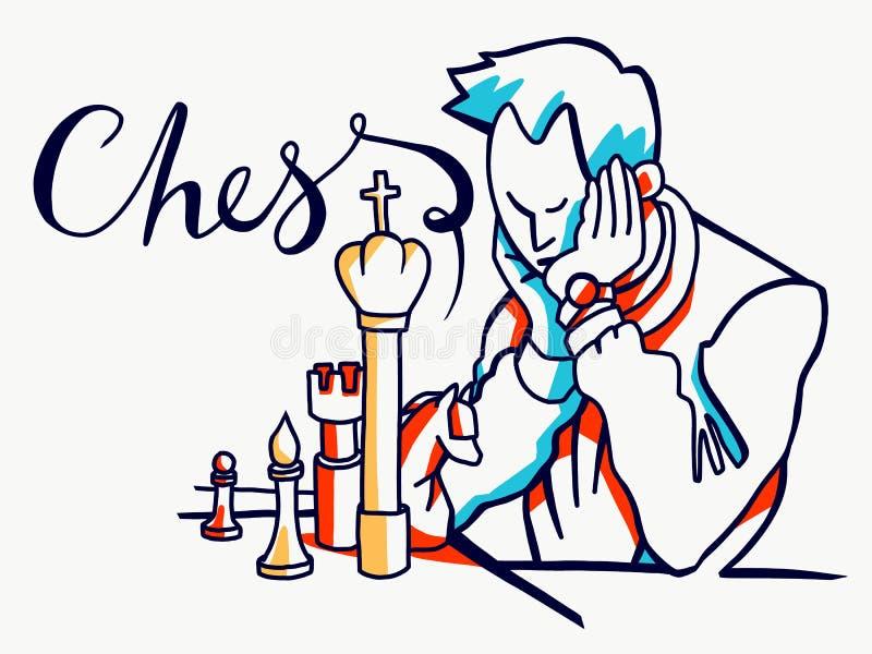 Illustration för schackspelare arkivbilder