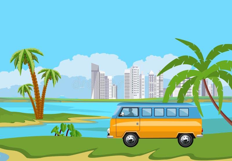Illustration för semester för sommartid Campareskåpbil, minibuss vektor illustrationer