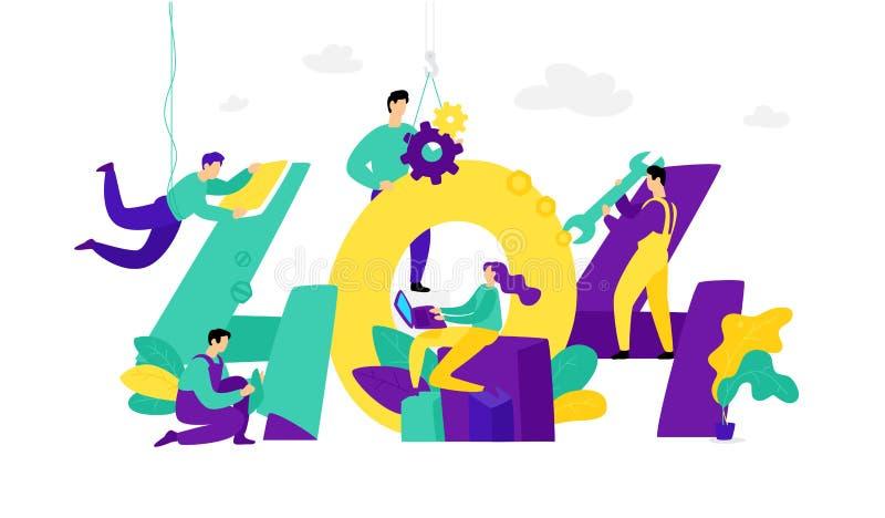 Illustration för sida 404 vektor Plan stil Funnit fel för sida inte Oops gick något fel på vår plats Mocap rengöringsdukmall A vektor illustrationer