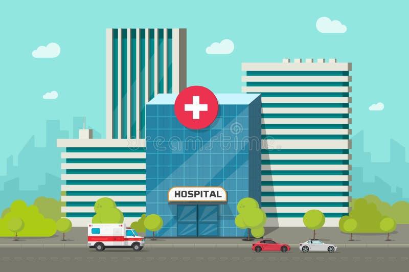 Illustration för sjukhusbyggnadsvektor, modern vårdcentral för plan tecknad film eller klinik på stadsgataclipart stock illustrationer