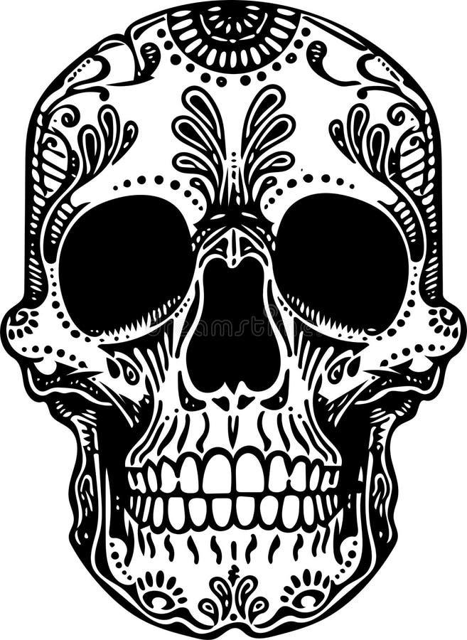 Illustration för skalle för svartvit tatuering för vektor mexikansk royaltyfri illustrationer