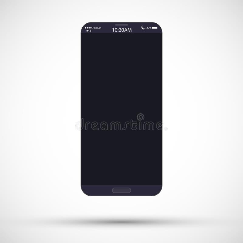 Illustration för Smartphone realistisk vektorphon Mobiltelefonmodell med den svarta skärmen som isoleras på vit bakgrund royaltyfri illustrationer