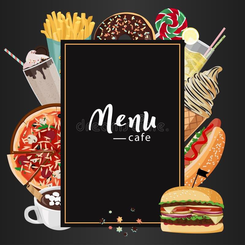 Illustration för snabbmatkafémeny Ställ in av utdragna vektormål för hand Pizza varmkorv, hamburgare, milkshake, varm choklad stock illustrationer