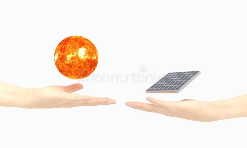 Illustration för sol- energi med två hand-, sol- och för solpanel 3D illustration arkivfoton