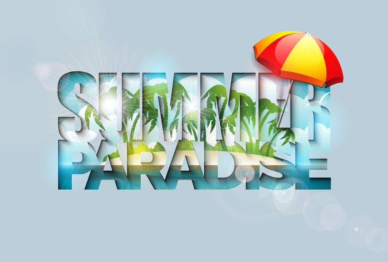 Illustration för sommarferie med den Paradise ön och tropiska palmträd, i att klippa typografibokstaven på rent stock illustrationer