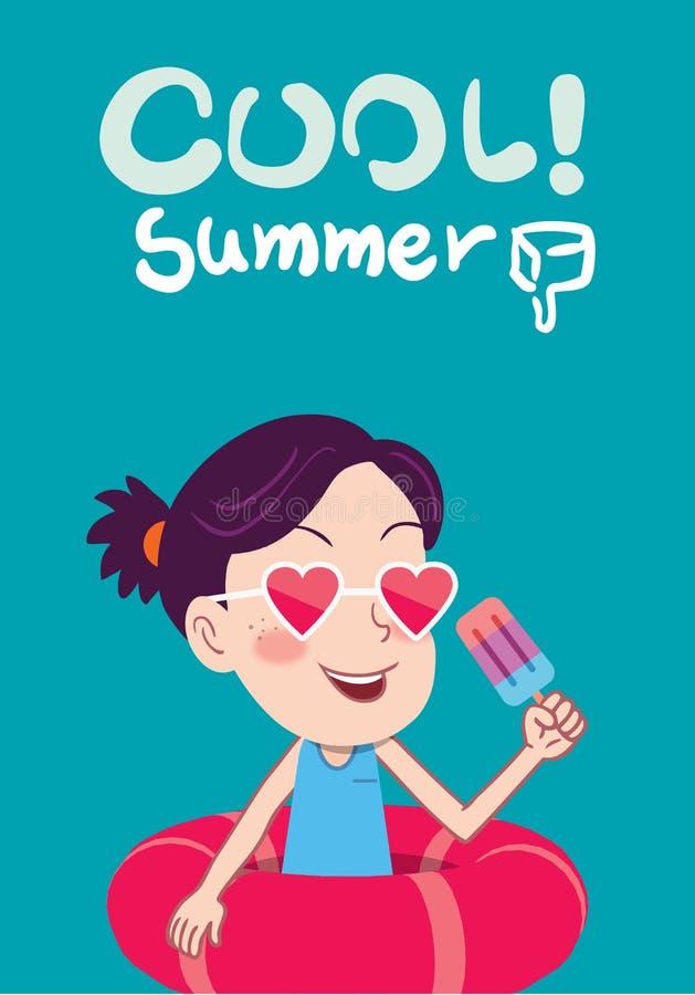 Illustration för sommarferier, gullig unge för lägenhetdesign och icecreambegrepp vektor illustrationer