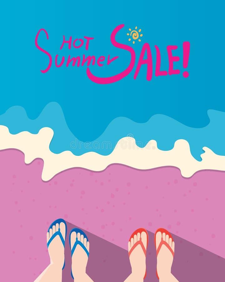 Illustration för sommarferier, lägenhetdesignstrand och sommarmarknadsföringsbegrepp vektor illustrationer