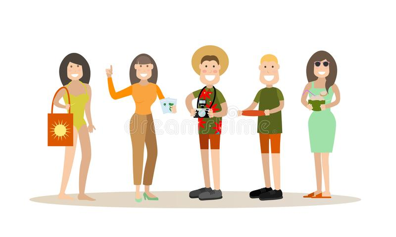 Illustration för sommarfolkvektor i plan stil vektor illustrationer