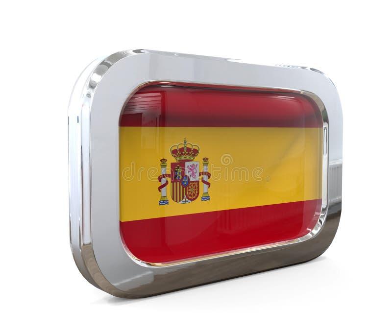 Illustration för Spanien knappflagga 3D royaltyfri illustrationer