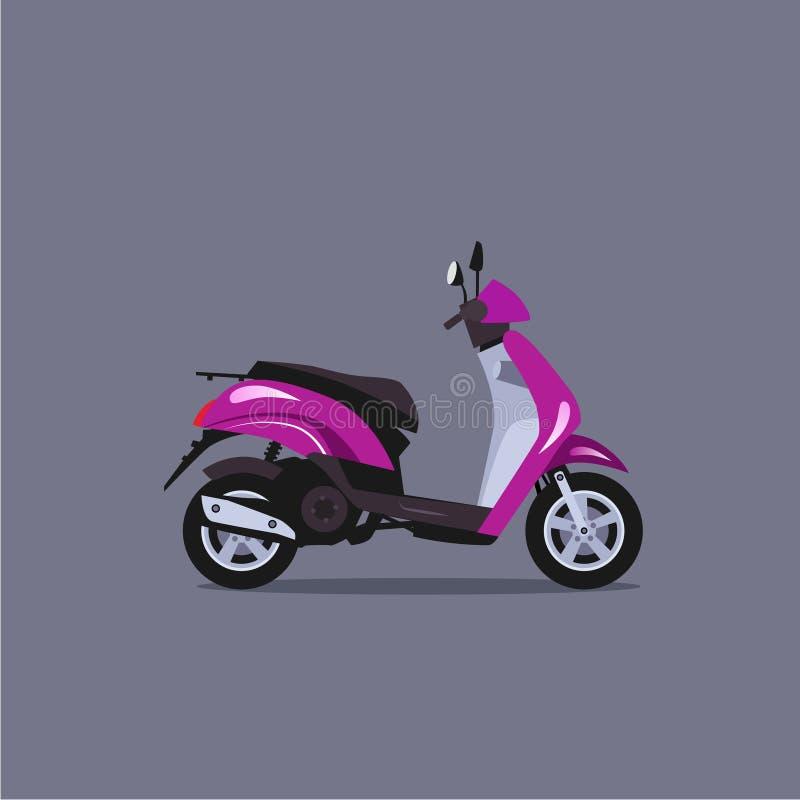 Illustration för sparkcykelmopedvektor stock illustrationer