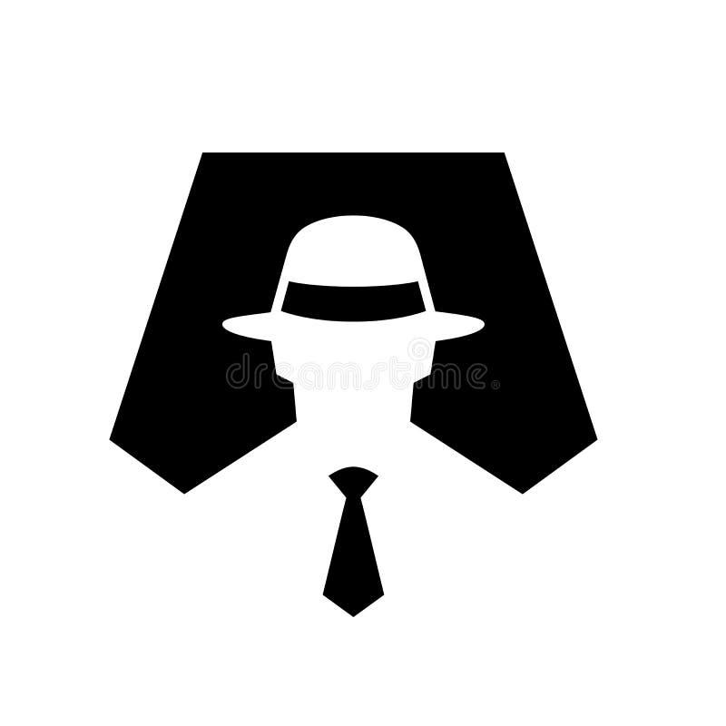 Illustration för spionsymbolsymbol, anonymt hemligt medel, en hacker som är mystisk, inkognito teckenvektorillustration stock illustrationer
