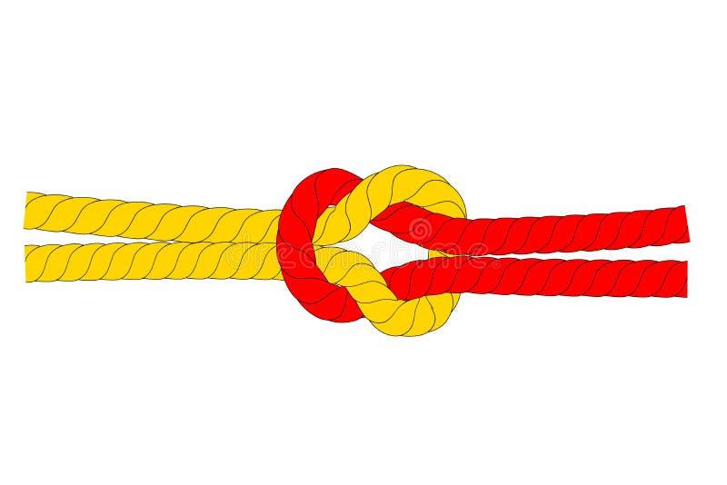 Illustration för starkt förhållande-/för samarbete, röd och brun rep, på vit bakgrund royaltyfri illustrationer
