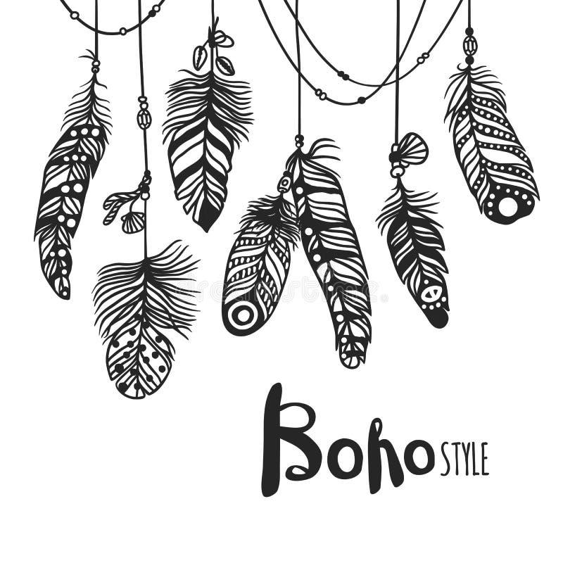 Illustration för stil för vektor för effekt för Boho fjäder hand dragen stock illustrationer