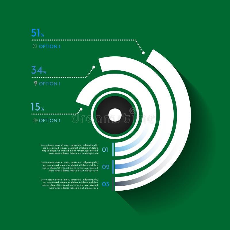 Illustration för stil för origami för affärsInfographics cirkel Kan användas för workfloworienteringen, banret, diagrammet, numme royaltyfri illustrationer