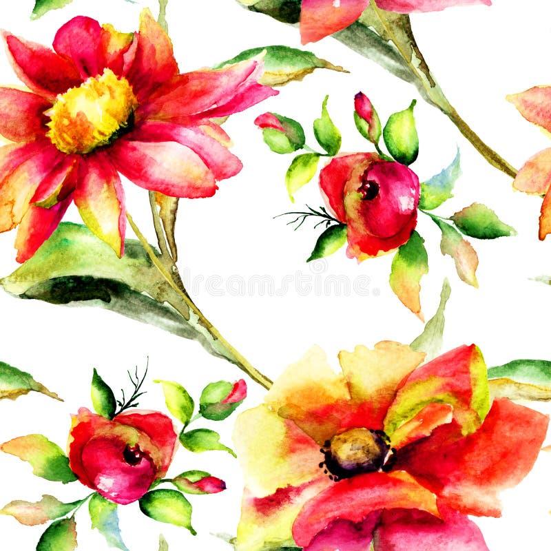 Illustration för stiliserade Gerber och rosblommor stock illustrationer