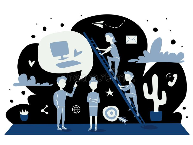 Illustration för strategibegreppsvektor blått sänker diagrammet av folk som diskuterar affär, arbete och prestationer Plan design vektor illustrationer