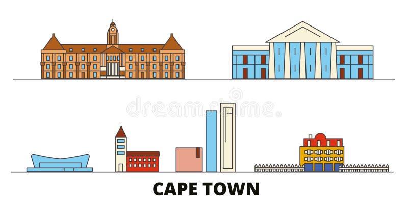 Illustration för Sydafrika Cape Town plan gränsmärkevektor Sydafrika Cape Town linje stad med berömda loppsikt royaltyfri illustrationer