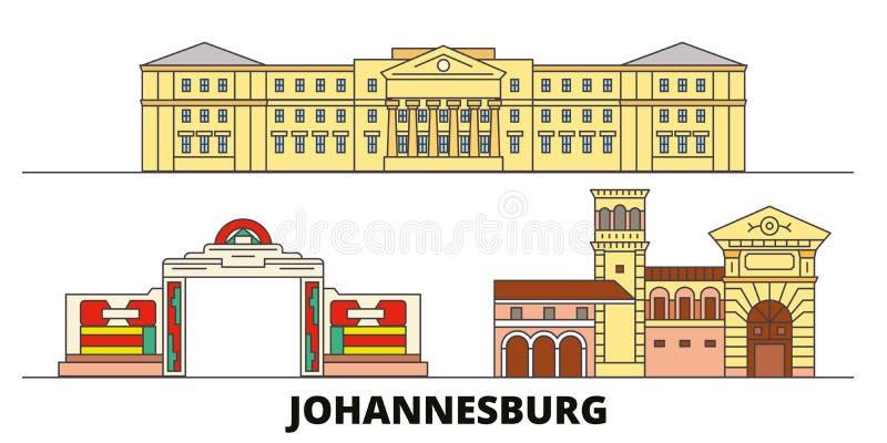 Illustration för Sydafrika Johannesburg plan gränsmärkevektor Sydafrika Johannesburg linje stad med berömt lopp stock illustrationer