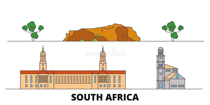 Illustration för Sydafrika plan gränsmärkevektor Sydafrika linje stad med berömda loppsikt, horisont, design stock illustrationer