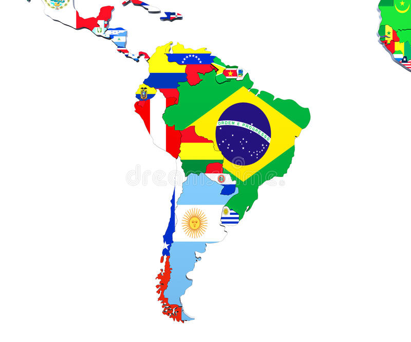 Illustration för Sydamerika översikt 3d på vit vektor illustrationer