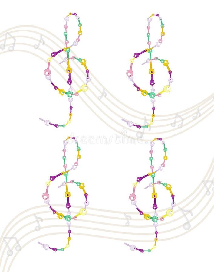 Illustration för symbol för anmärkningar för nyckel- vektor för musikal färgrik royaltyfri illustrationer