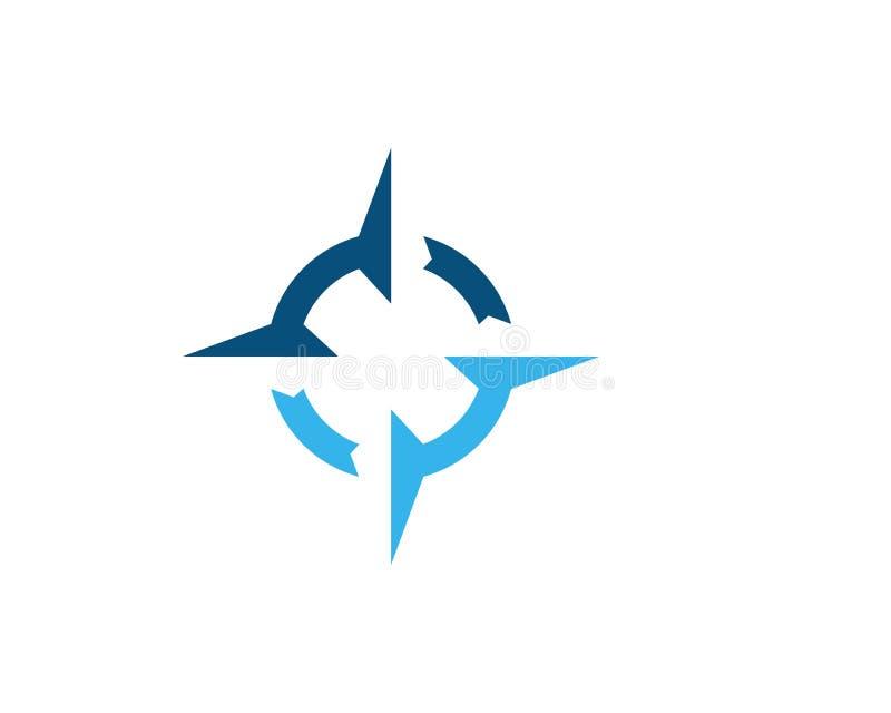 Illustration för symbol för kompassLogo Template vektor royaltyfri illustrationer