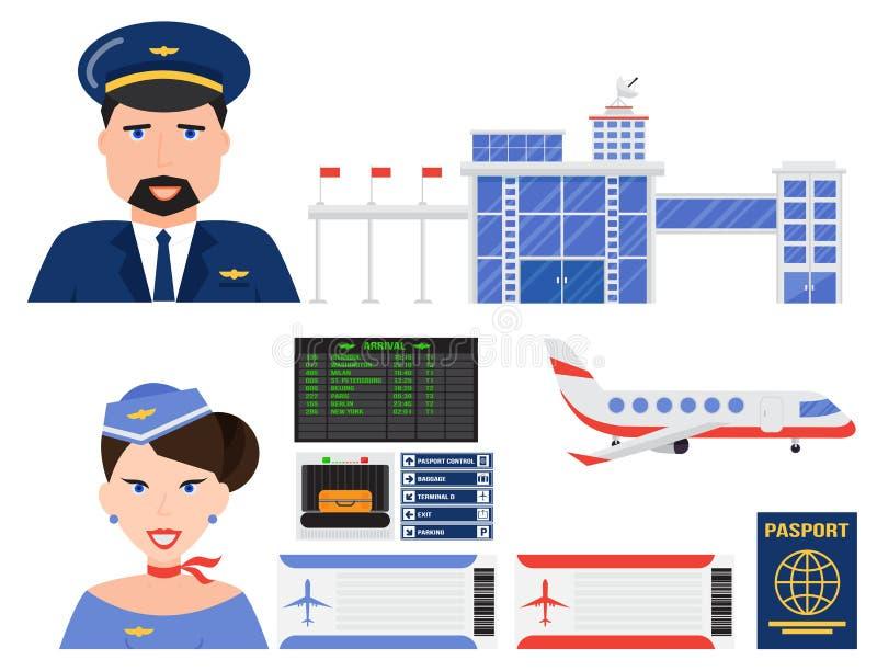 Illustration för symbol för lopp för fluga för trans. för flygplats för flygplan för flygbolag för uppsättning för flygsymbolsvek royaltyfri illustrationer