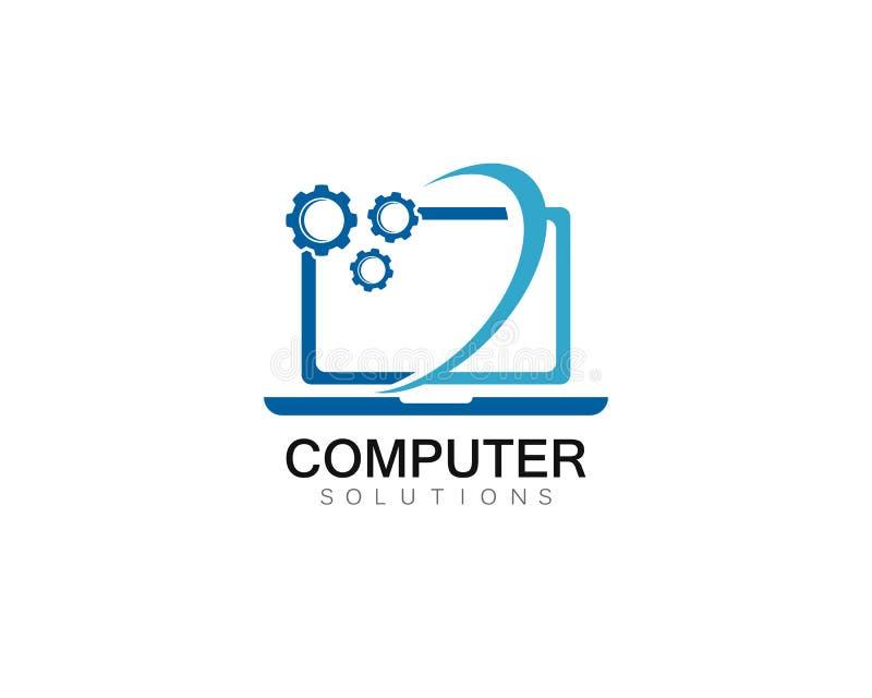 Illustration för symbol för mall för logo för reparation för vektordator och bärbar dator royaltyfri illustrationer