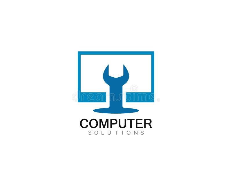 Illustration för symbol för mall för logo för reparation för vektordator och bärbar dator stock illustrationer