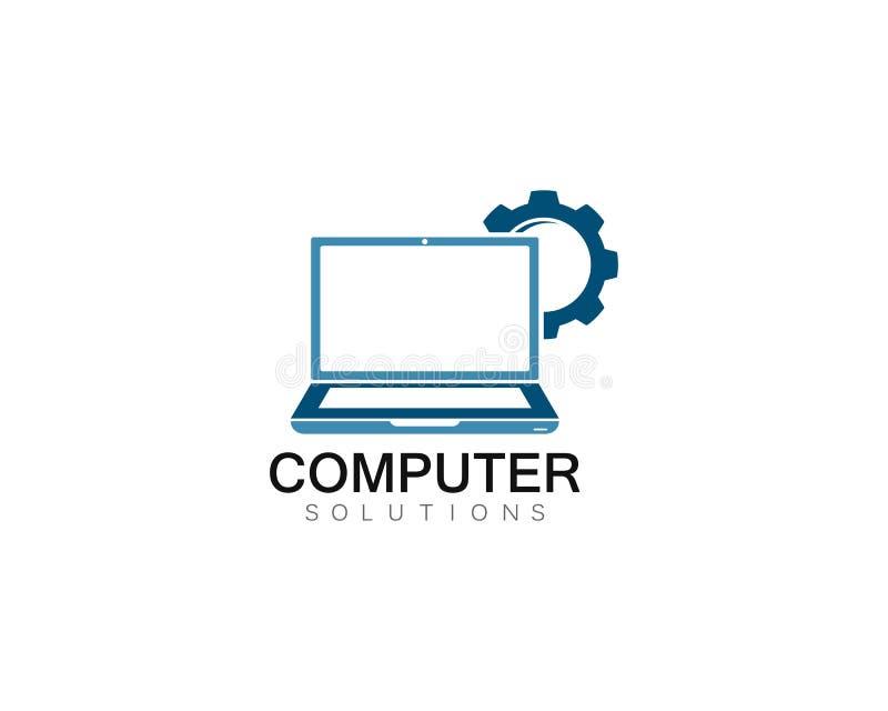 Illustration för symbol för mall för logo för reparation för vektordator och bärbar dator vektor illustrationer