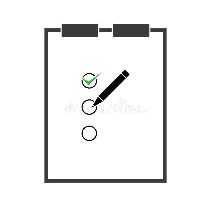 Illustration för symbol för skrivplattablyertspennavektor som isoleras för diagram stock illustrationer