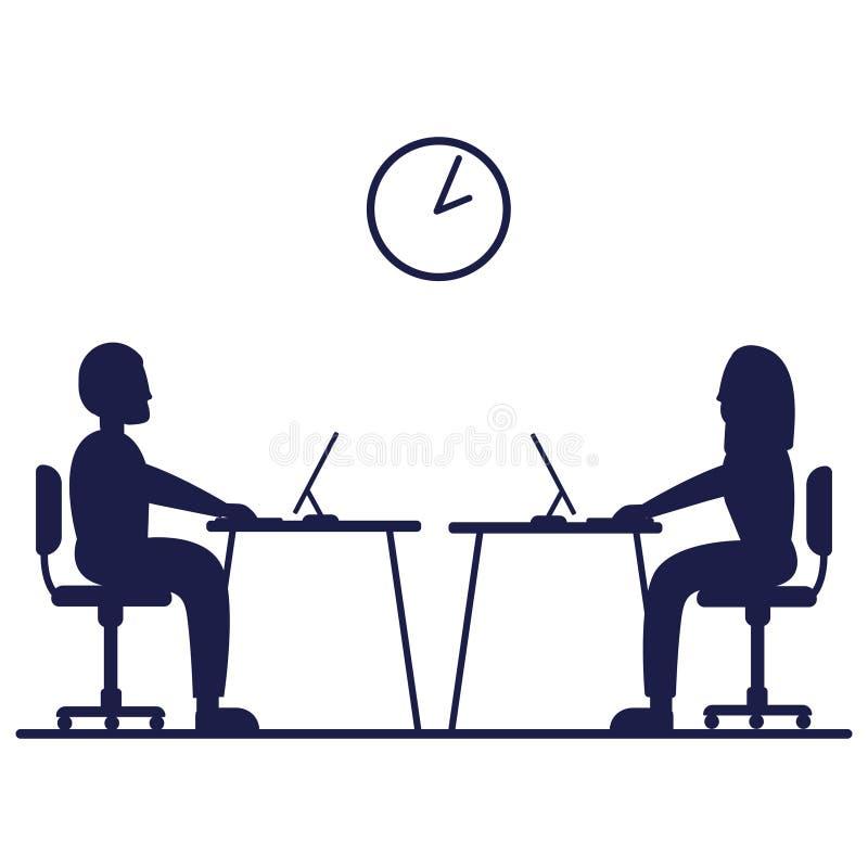 Illustration för symbol för tecken för vektor för symbol för kontorsarbetare illustration isolerad framlänges royaltyfri illustrationer