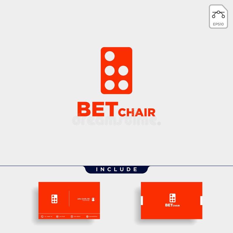 Illustration för symbol för vektor för design för dominobrickastollogo stock illustrationer