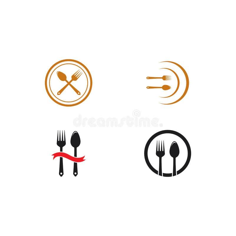 illustration för symbol för vektor för gaffel- och skedlogomall royaltyfri illustrationer