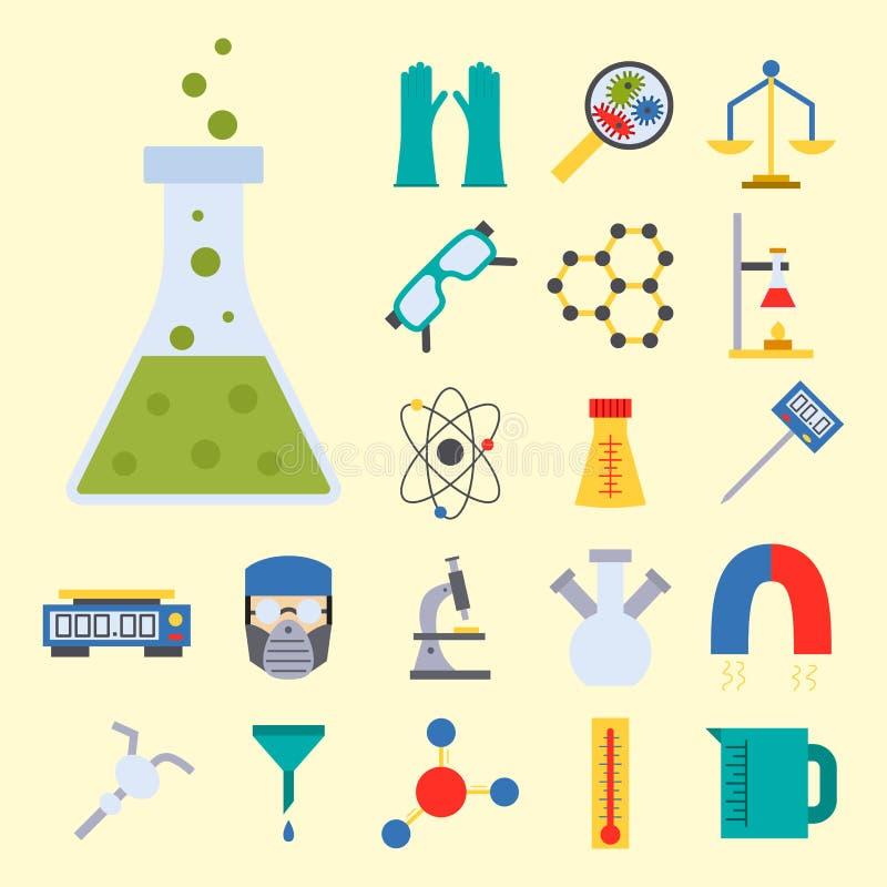 Illustration för symboler för kemi för vetenskap för biologi för medicinskt laboratorium för prov för labbvektor kemisk vetenskap stock illustrationer