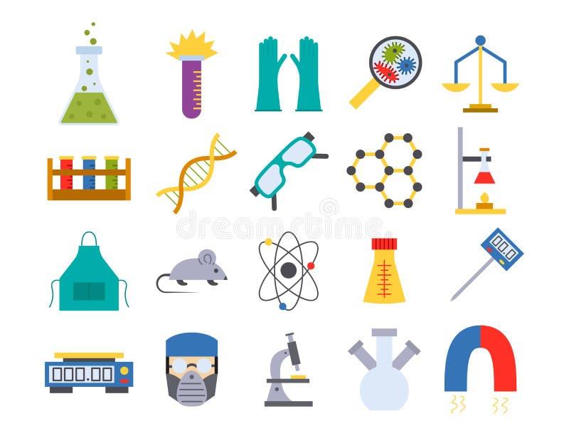 Illustration för symboler för kemi för vetenskap för biologi för medicinskt laboratorium för prov för labbvektor kemisk vetenskap vektor illustrationer
