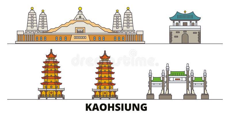 Illustration för Taiwan Kaohsiung plan gränsmärkevektor Taiwan Kaohsiung linje stad med berömda loppsikt, horisont stock illustrationer