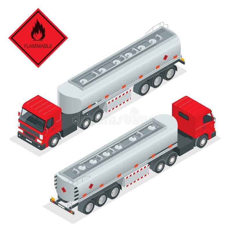 Illustration för tankbil för bränslegas isometrisk Lastbil med vektorn för bränsle 3d För tankfartygsändnings för automatiskt brä vektor illustrationer